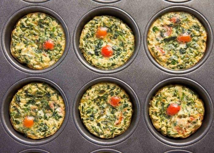 receta de muffins de quínoa con espinacas