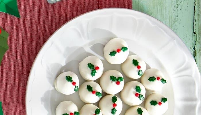 Trufas de chocolate blanco para Navidad
