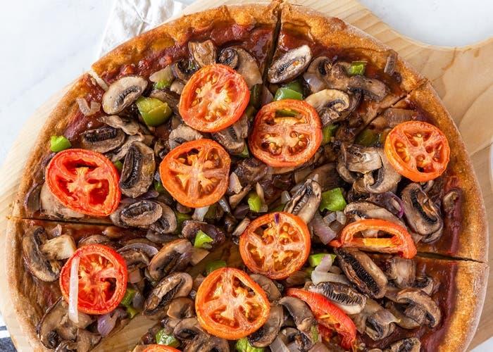 Pizza vegana de trigo integral