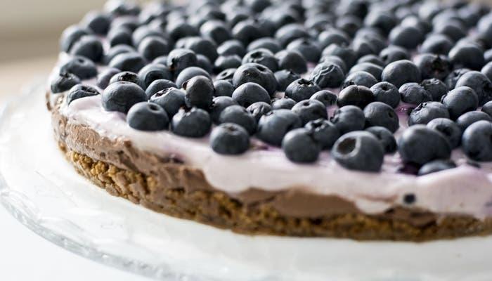 tarta de arandanos sin hornear