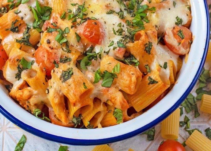 pasta con salsa cremosa de tomate