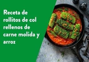 Receta de rollitos de col rellenos de carne molida y arroz