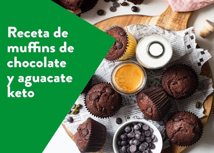muffins de chocolate y aguacate