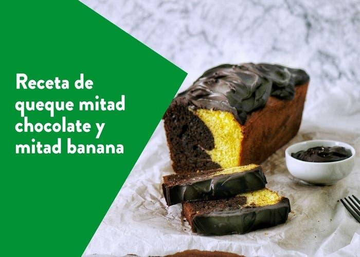 queque mitad banana mitad chocolate