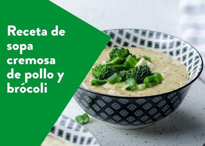 sopa cremosa de pollo y brocoli