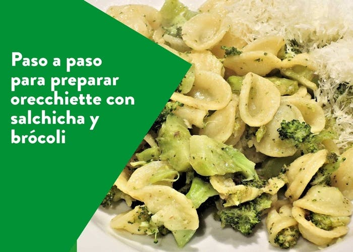 orecchiette con salchicha y brócoli