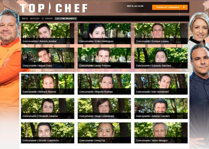 Imagen de la web de antena tres con los concursantes de Top Chef