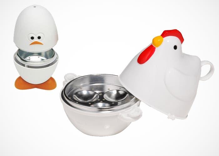 Cuece huevos para microondas en forma de gallina y huevo