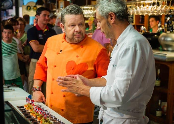 Alberto Chicote y Jesus ALmagro en el Mercado de San Miguel